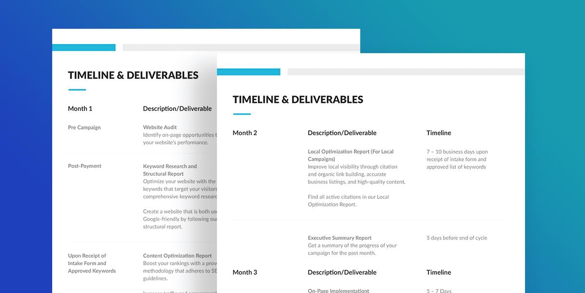 SEOReseller.com SEO Proposal Timeline Section