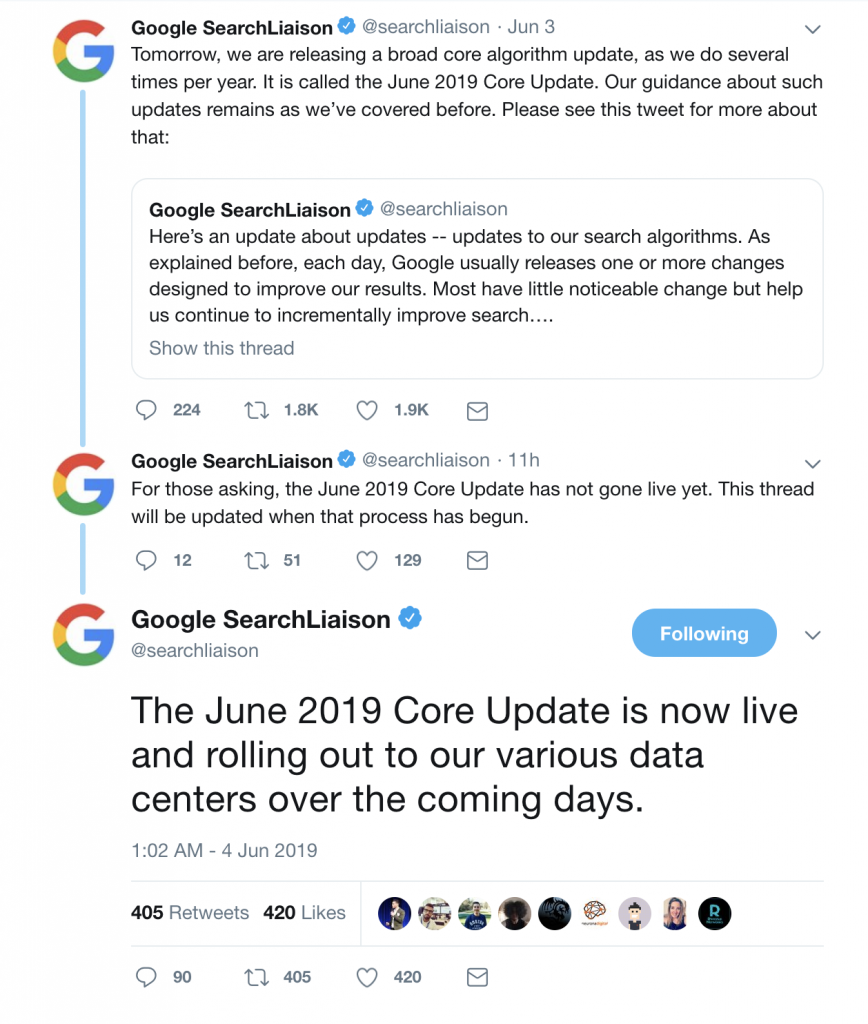 Google Search Liason - Broad Core Update 2019