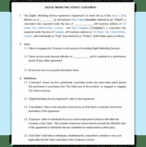 Sample Service Agreement for Digital Services