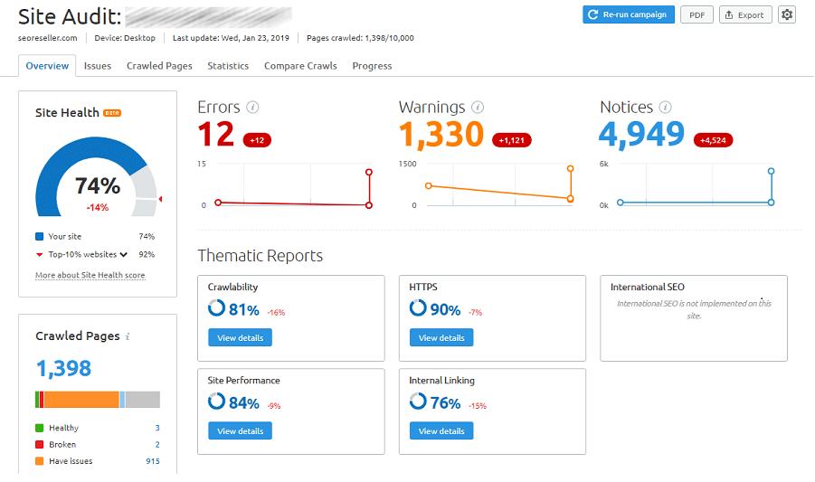 Semrush - Site Audit Feature