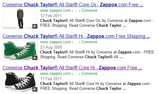 Zappos - Chuck Taylor video results