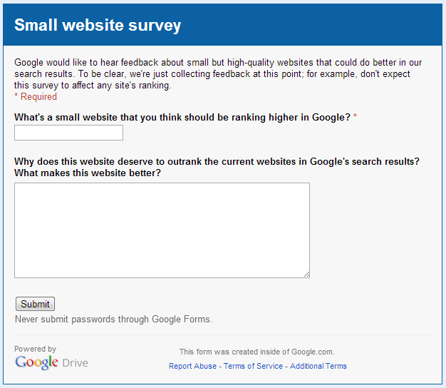 Google's Matt Cutts: Tell Us More about Small Websites That Should Be Ranking