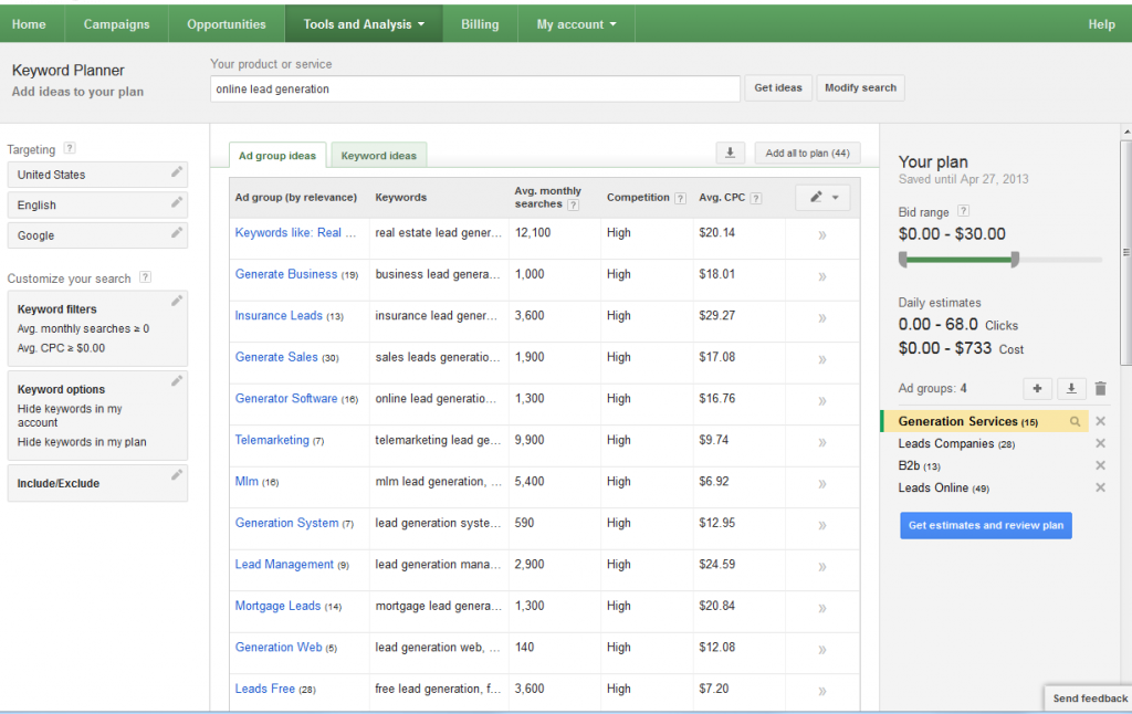 Google Analytics' Keyword Planner Now Live, Replaces Keyword Tool