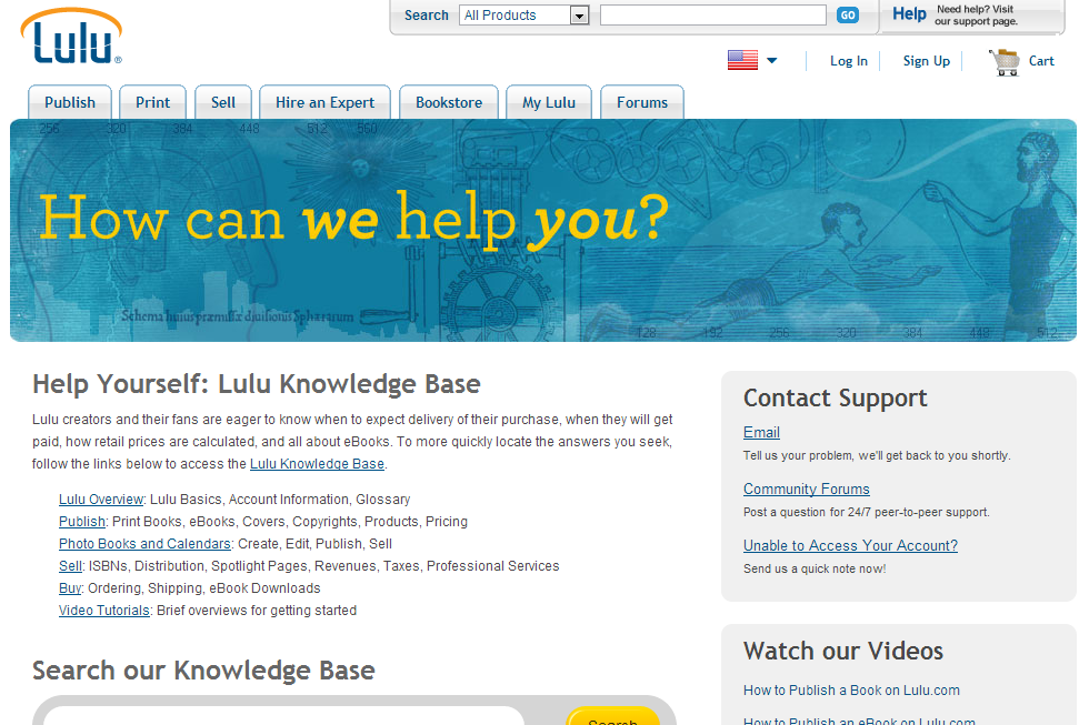 Self-publishing platform Lulu.com has an extensive Support section in their website, featuring FAQs, instructional videos, and forum support for their users.