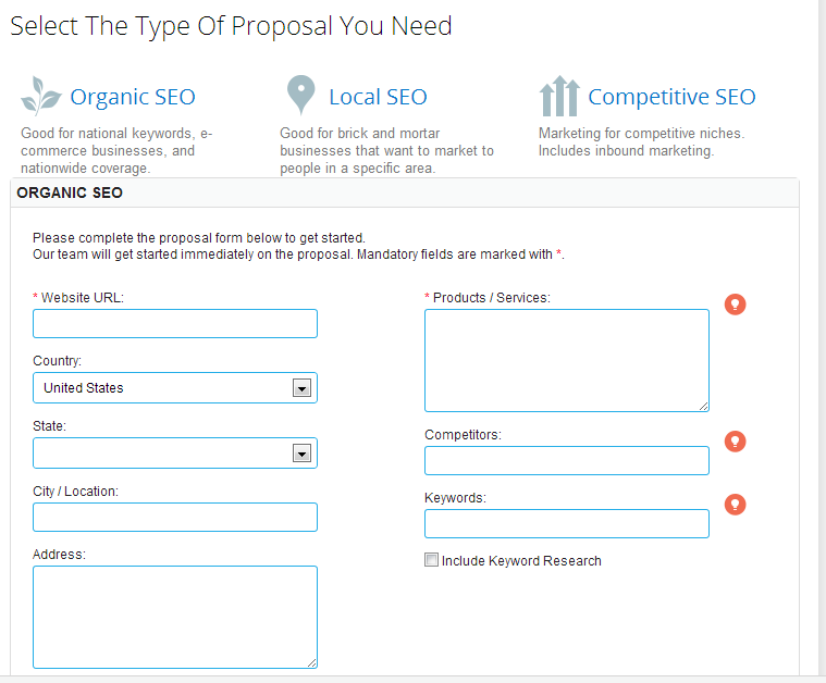 The form that appears once you've selected the type of proposal you need