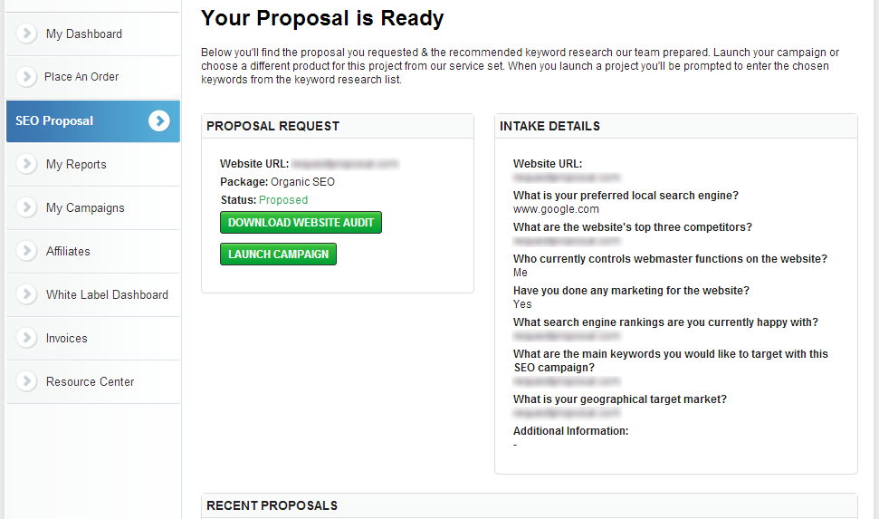 """When your proposal is ready after a few minutes, you can click on """"Download Website Audit"""" and send the proposal directly to your client."""