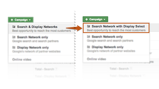 Before and After: Search & Display Networks will be replaced by Search Network with Display Select on Google AdWords