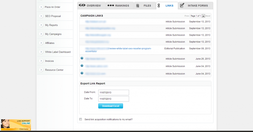 Export Links Built Report are now added on SEOResellers Client's Dashboard.