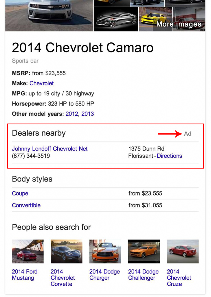 Knowledge Graph entry for the 2014 Chevrolet Camaro showing an ad for a local dealer
