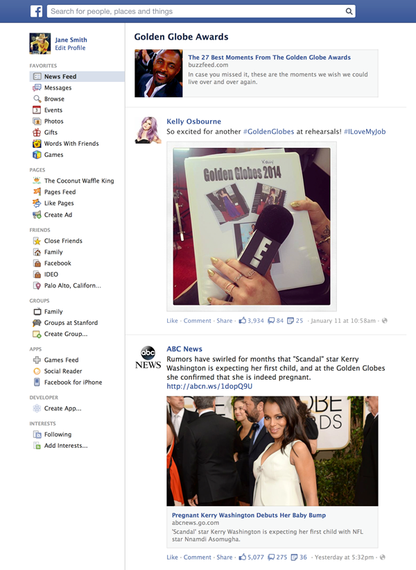 An example of a trending topic's page