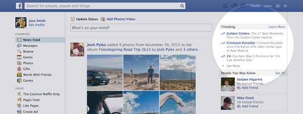 Facebook's new Trending feature