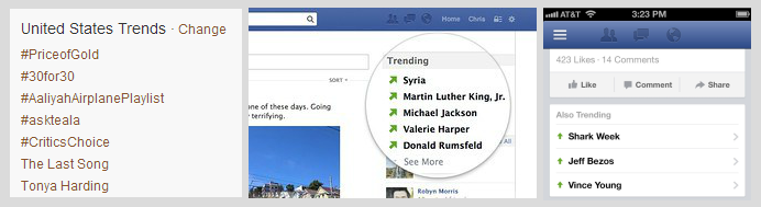 A comparison of Twitter's Trends feature and Facebook's old Trending feature on web and mobile