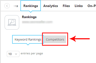 Rankings dashboard, with the Keyword Rankings tab and the new Competitors tab