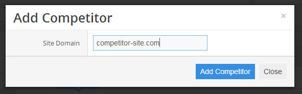 The pop-up window where you can add your competitors' domains one at a time