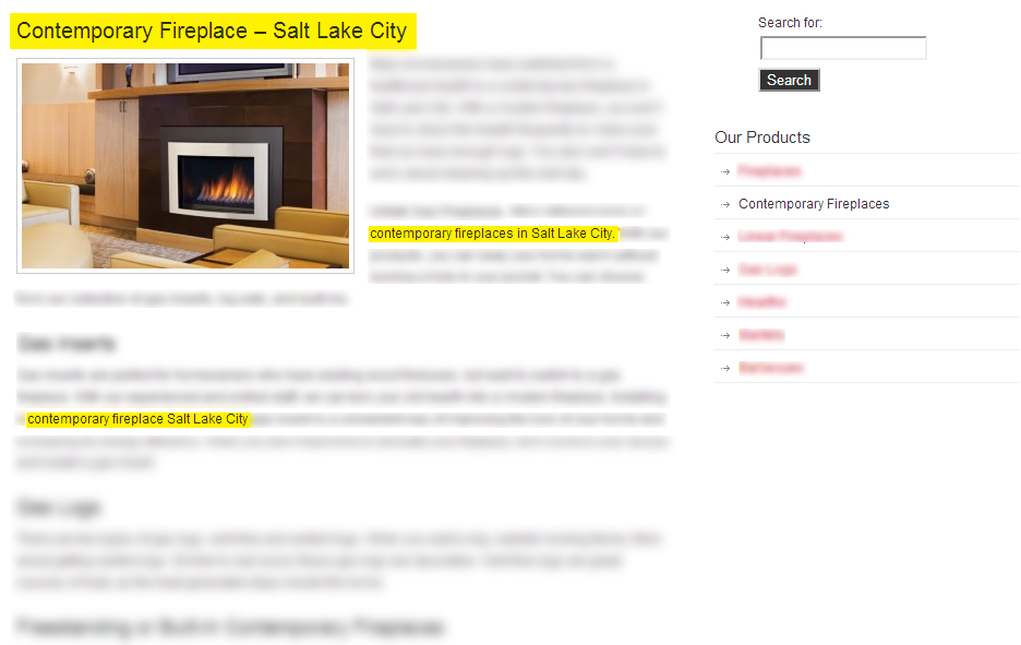 On-page content we created for the client, with the targeted keywords highlighted