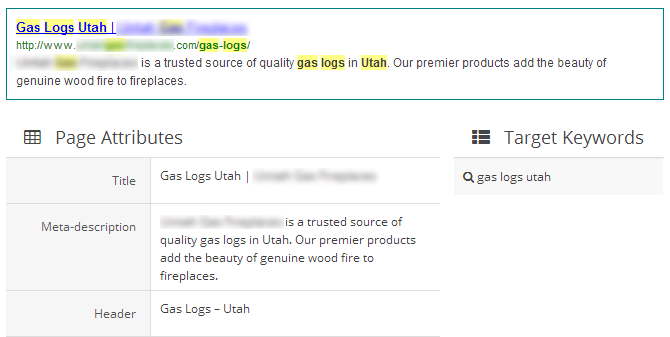 "One of the targeted pages with the metadata we recommended, with the listing preview above. This listing is now live on Google SERPs for the keyword ""gas logs Utah."""