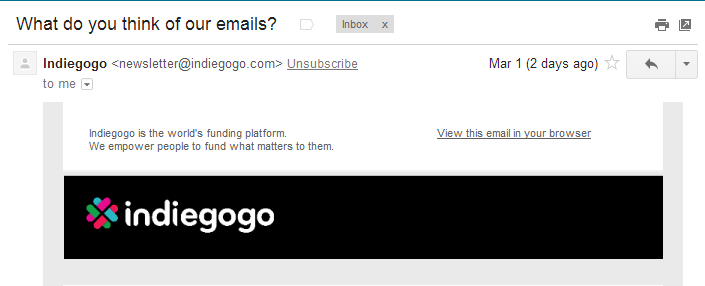 Gmail's unsubscribe feature is now a clickable link on the sender's information