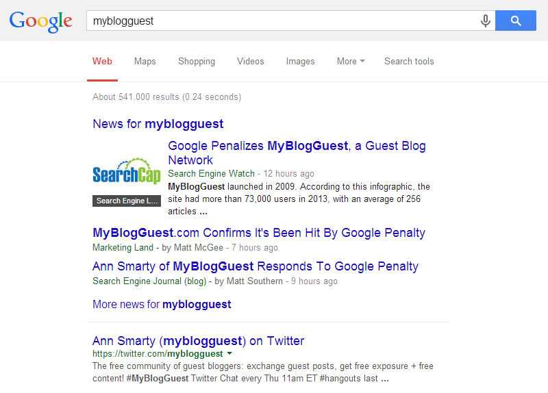 A screenshot illustrating how the MyBlogGuest website is no longer showing up for its own brand in search engine results pages