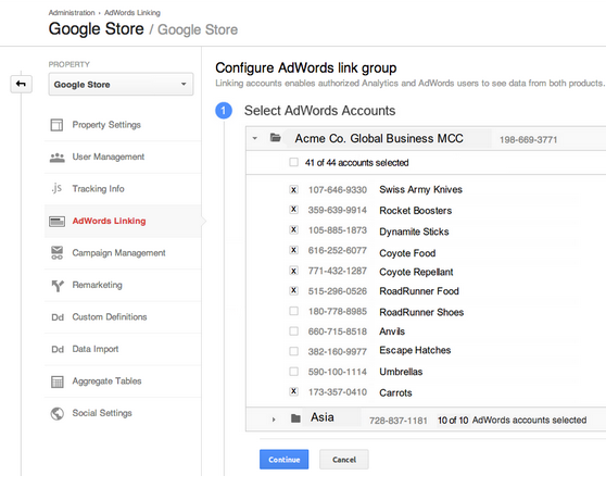 The AdWords Linking wizard on Google Analytics