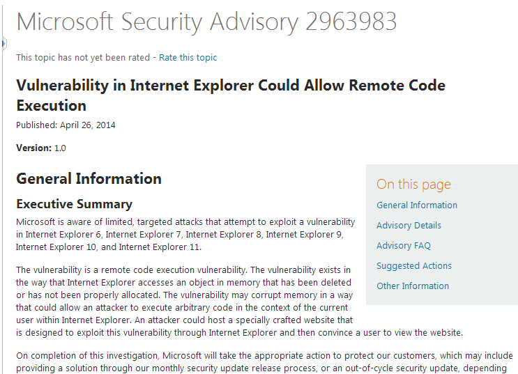 Microsoft's first security advisory
