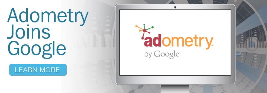 Adometry's current website homepage banner, which announces the acquisition by Google