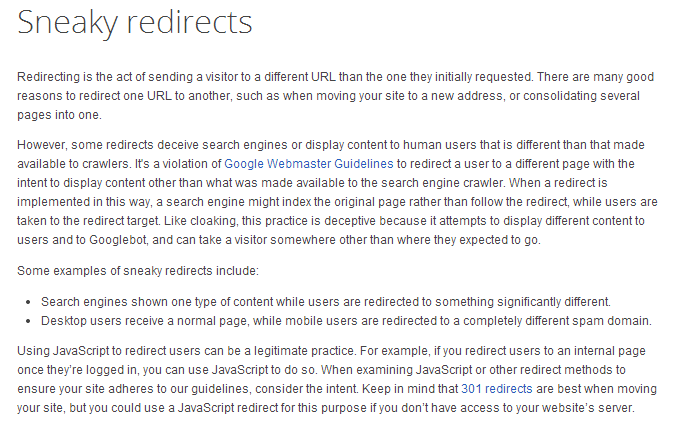 Sneaky Redirects guideline