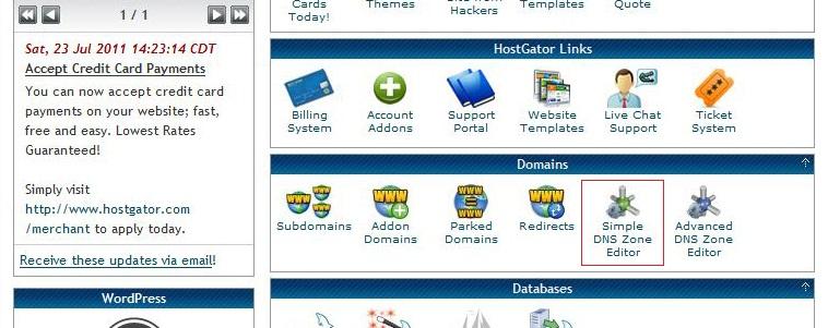 A screenshot of HostGator's cPanel