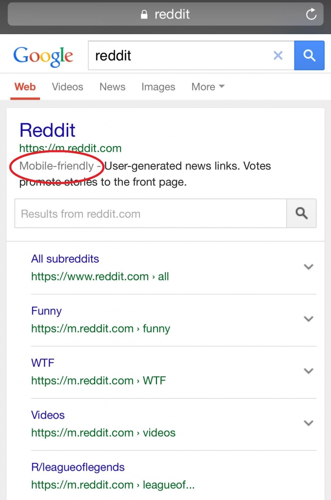 Reddit Mobile Friendly SERP