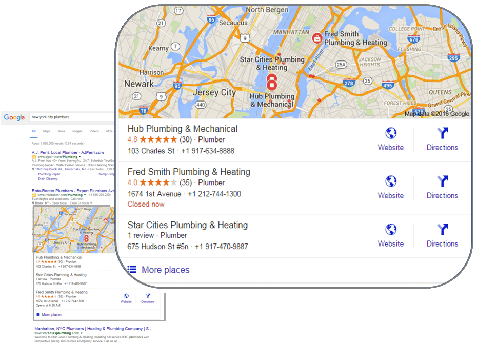 Google 3-Pack Local Searches Example