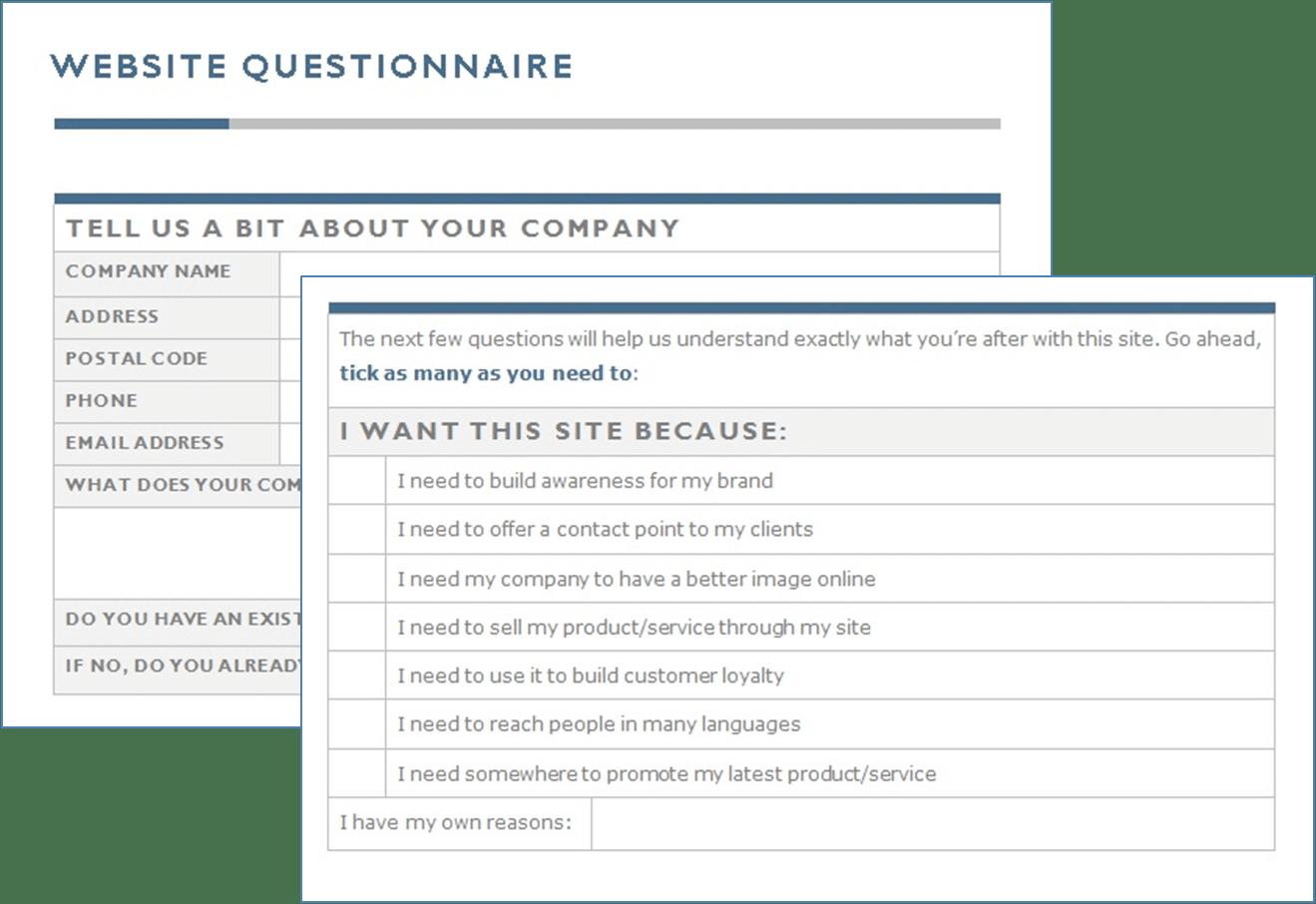 Website Questionnaire
