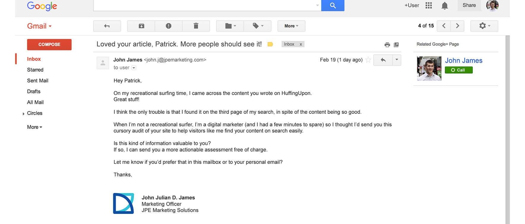 Prospecting - Good Warm Email Example