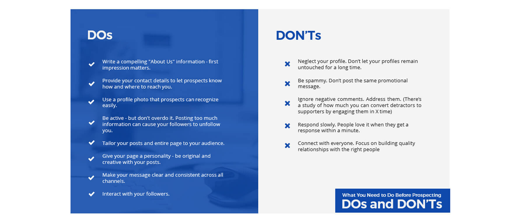 Prospecting - Social Media Dos and Donts