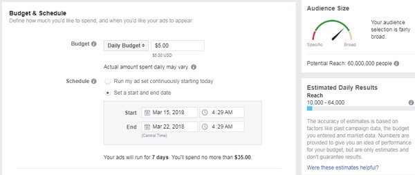 Facebook Ad Budget - Target Audience