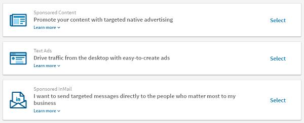 LinkedIn Ad Options - Marketing for New Agencies