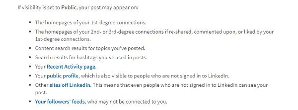 LinkedIn Sharing Settings