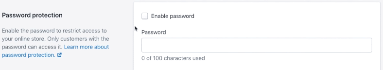 shopify storefront password
