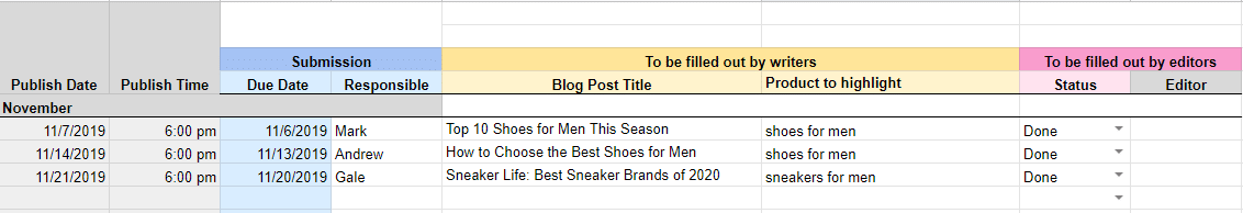 Sample content calendar to follow for small businesses